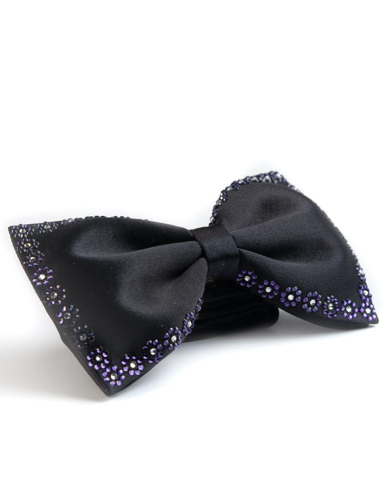 Black bowtie with Purple & Cear Swarovski Edge