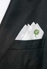 Linen pocket square with four-leaf clover