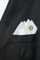 Linen pocket square with four-leaf clover