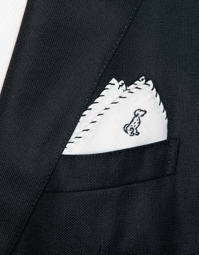 Linen pocket square with embroidery