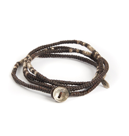 Knotted Brown multi wrap with silver