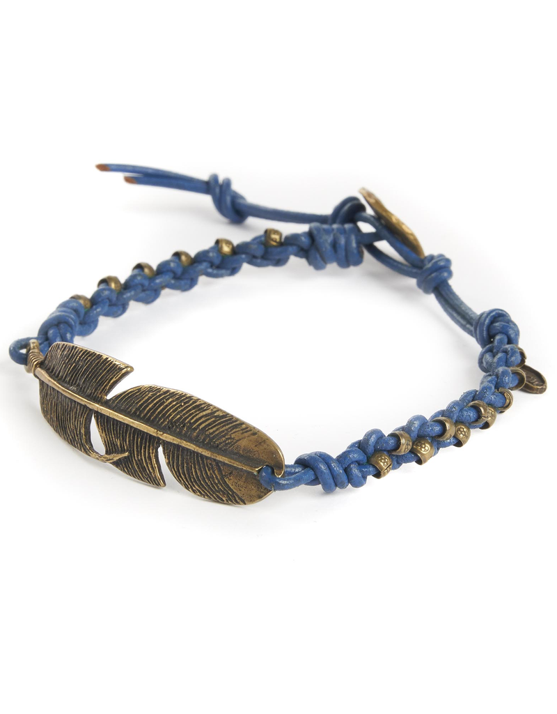 Woven Blue leather and brass feather bracelet