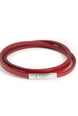 Silver and Red Leather Bracelet Triple Wrap