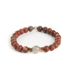 Sterling Silver Ruthenium & Rose Gold Bead