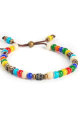 African glass trading beads with sterling Silver