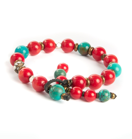 Coral, turquoise and carved brass