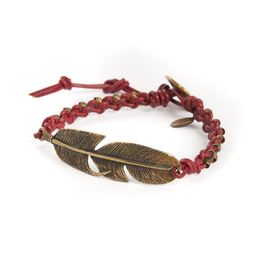 Woven Red leather and brass feather bracelet