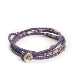 Knotted Purple multi wrap with silver beads bracelet