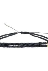 Black thin beaded bracelet