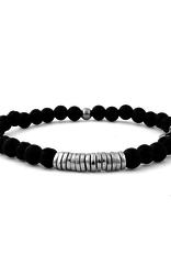 Onyx & Silver Discs Bracelet