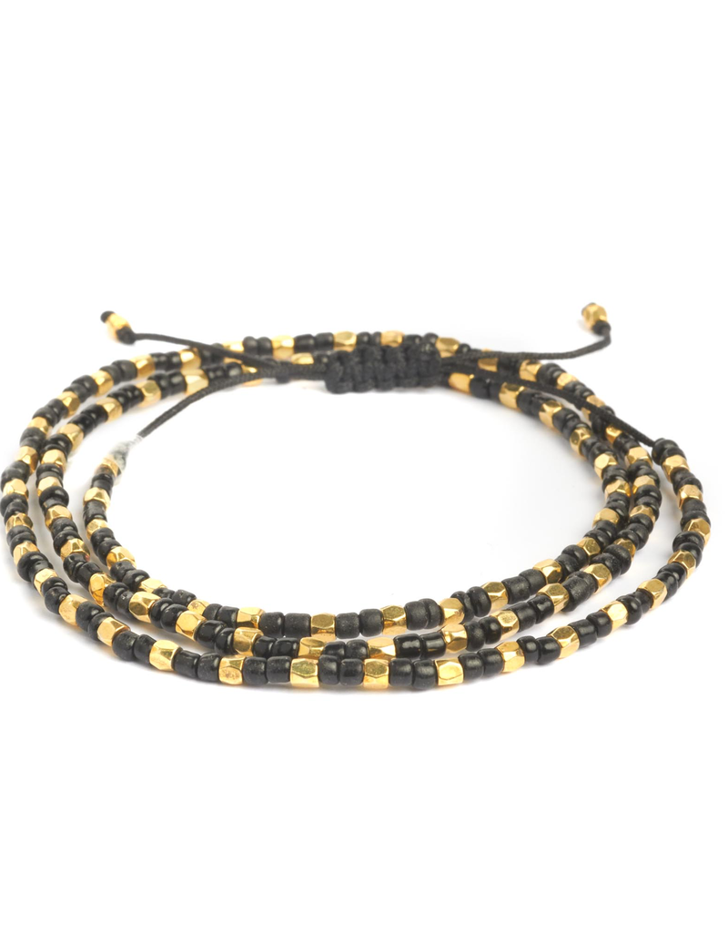 Black and Gold Tripple Wrap Bracelet