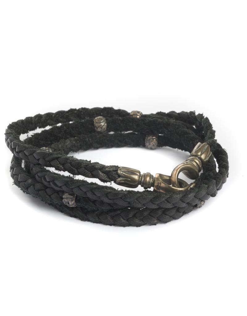 Multi wrap deer skin with sterling beads Bracelet