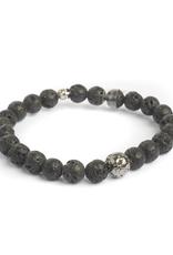 Sterling Sliver Ruthenium Black Lava Beads Bracelet