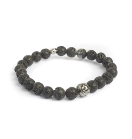 Sterling Sliver Ruthenium Black Lava Beads Bracelet