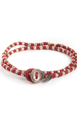 Two Layer Hand Knotted Wrap with Stamped Silver Beads