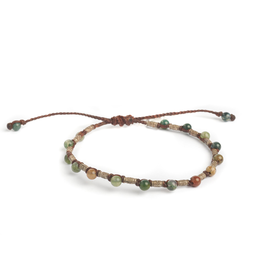 Sterling Silver Rivet and Jasper Macrame Bracelet