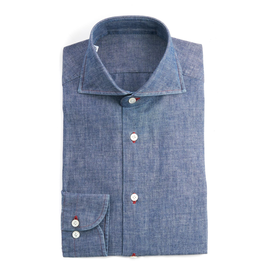 Okayama Chambray Medium Light Indigo Denim, Red Stitch