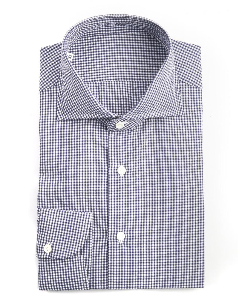 Handmade, Crinkled Gingham Cotton Shirt