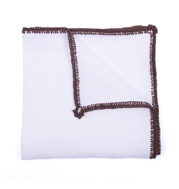 Linen pocket square with brown crochet edge
