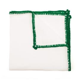 Linen pocket square with green crochet edge