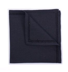 Linen Pocket Square, Black