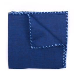 Linen Pocket Square, Navy with Blue