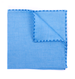 Linen Pocket Square, Lt. Blue with Royal Blue
