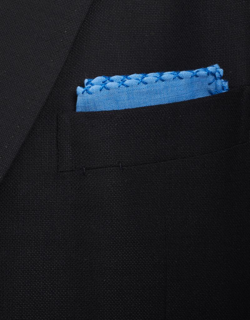 Linen Pocket Square, Lt. Blue with Royal Blue