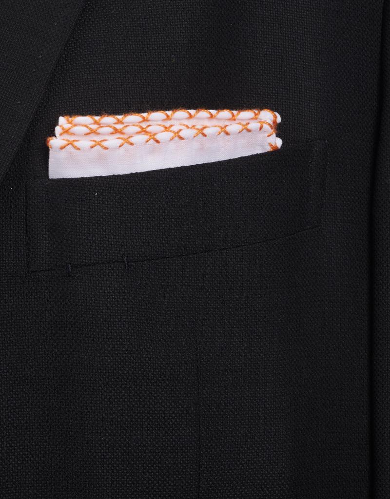 Linen Pocket Square, White with Orange