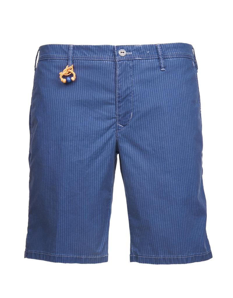 Striped Twill Shorts. Blue