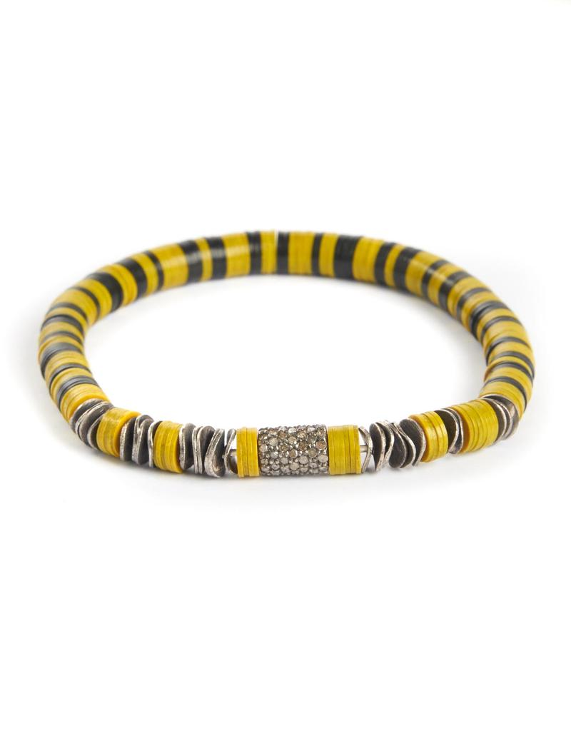 Yellow African vinyl trading disk bracelet