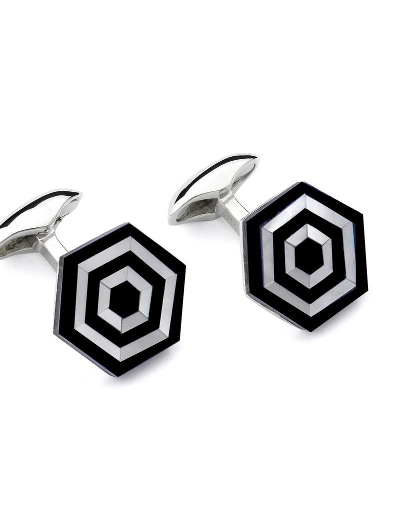 Maze Cufflinks - Onyx, MOP