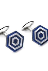 Maze Cufflinks, Sodalite, MOP Blue and White
