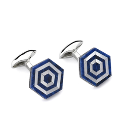 Maze Cufflinks, Sodalite, MOP Blue and White