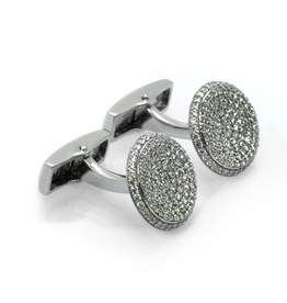 Silver Crystal Pave Cufflinks