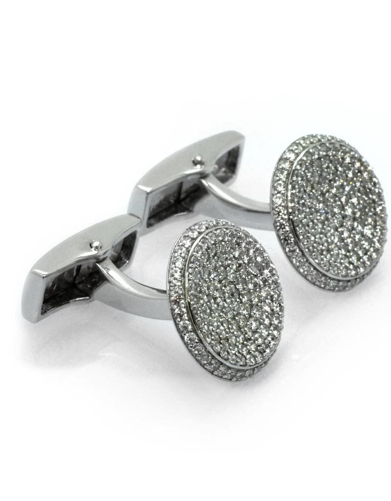 Silver Crystal Pave Cufflinks