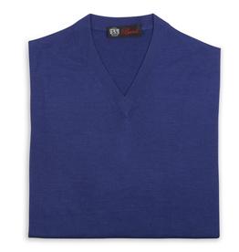 Cashmere / Silk V Neck Sweater, Cobalt