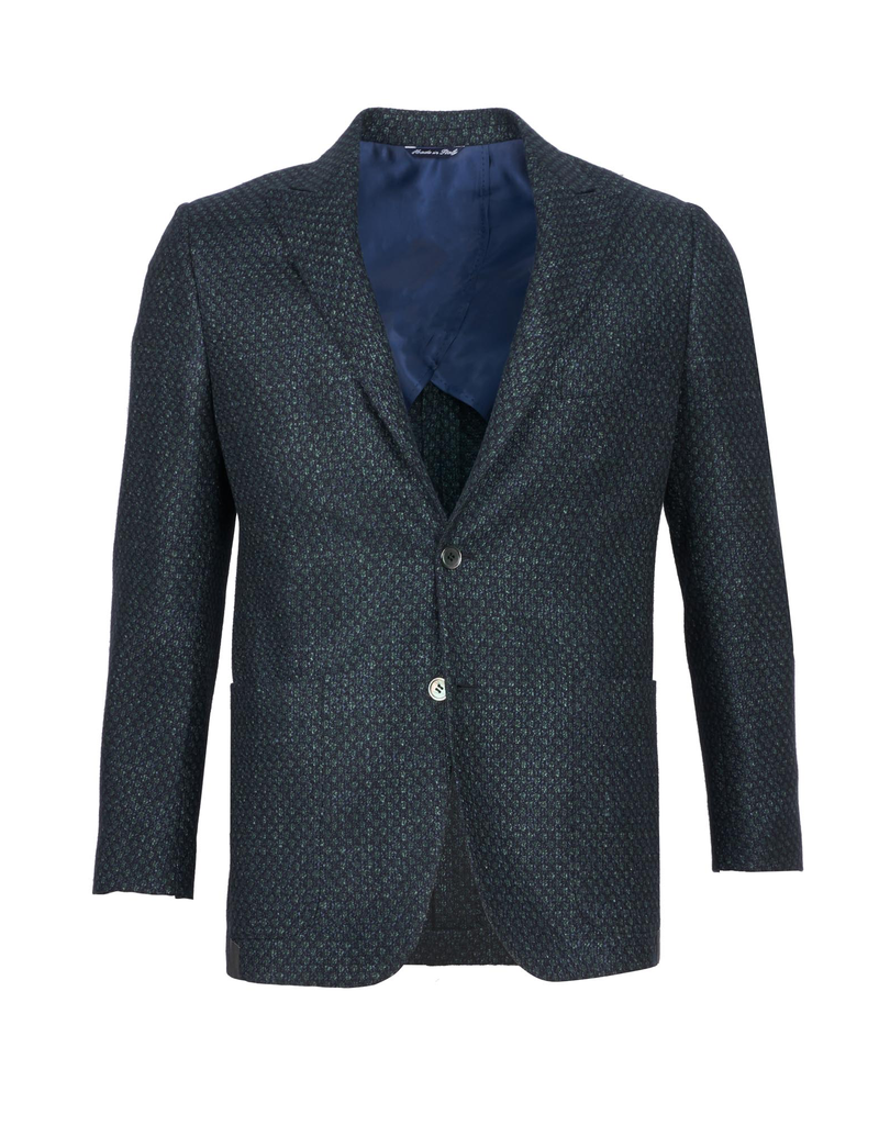 Inclusivo Unstructured Honeycomb Tweed Jacket - Emerald & Blue