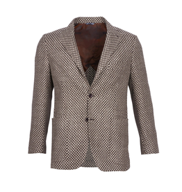 Inclusivo Unstructured Honeycomb Tweed Jacket - Tan & Brown