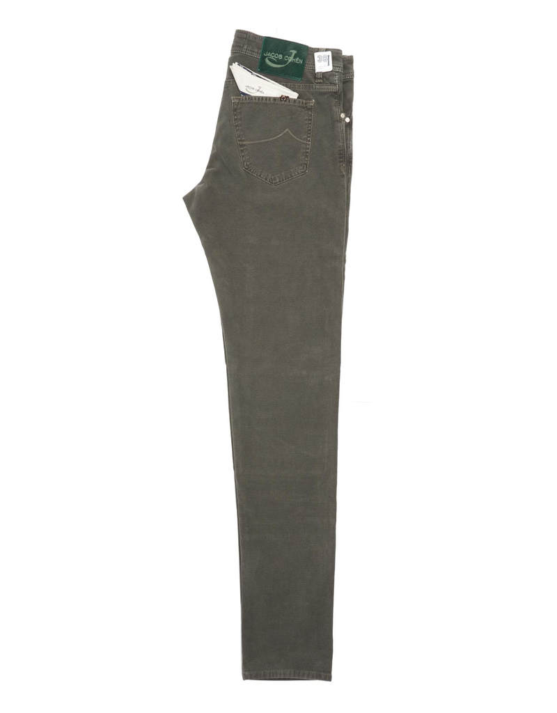Jacob Cohen Velour Five-pocket Pants, Olive