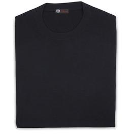 Cashmere / Silk Crew Neck Sweater, Midnight