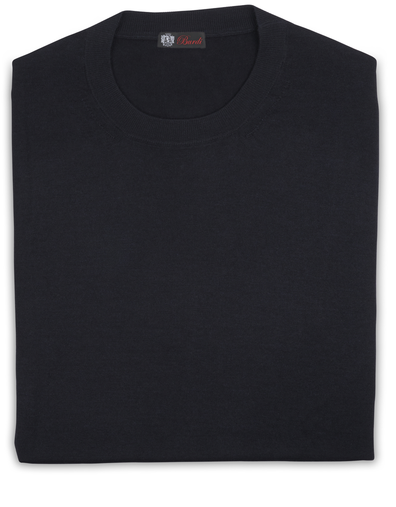 Cashmere / Silk Crew Neck Sweater, Midnight