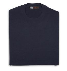 Cashmere / Silk Crew Neck Sweater, Navy
