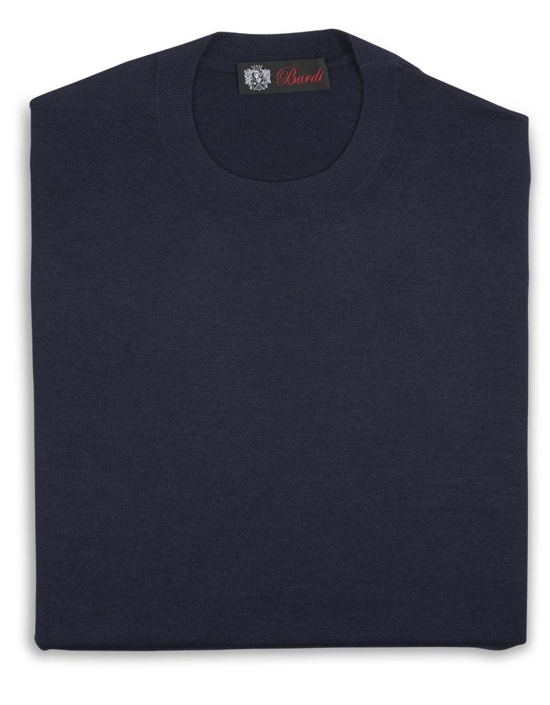 Cashmere / Silk Crew Neck Sweater, Navy