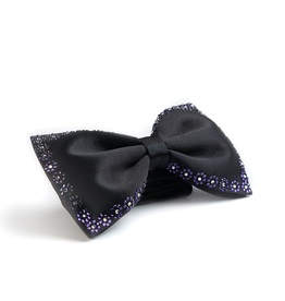 Black bowtie with Purple & Cear Swarovski Edge