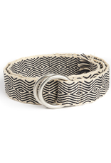 Hand-Made Tapestry Belt with round buckle and fringe, Cream & Black