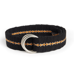Hand-Made Tapestry Belt with round buckle and fringe, Black & Gold
