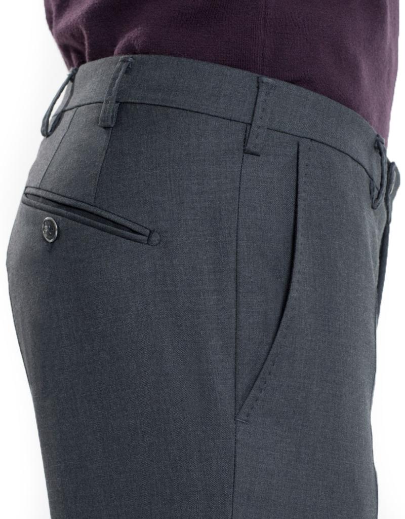 Gray Slim Wool Pants
