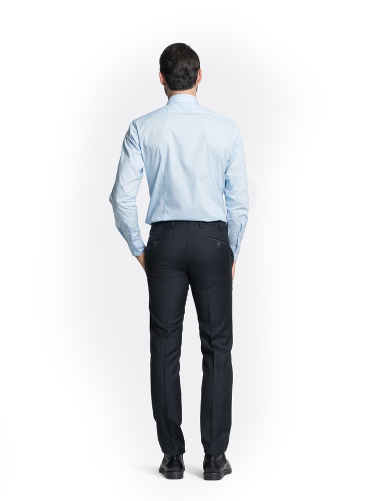 Navy Slim Wool Pants