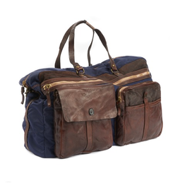 Handmade Nylon & Distressed Leather Weekender Bag